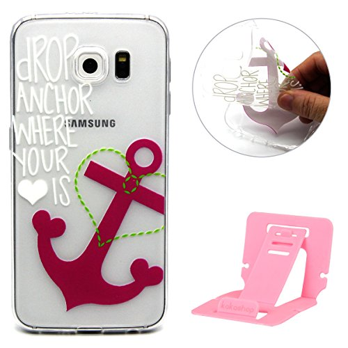 Coque pour Samsung Galaxy S5, Clair Housse en Soft Doux TPU Gel Silicone pour Samsung Galaxy S5, Ekakashop Samsung Galaxy S5 Flexible Souple Cas Back Case Cover de Protection, Ultra Slim Créatif Dessi Ancre rose