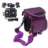Navitech violet sacoche petit / étui / pour le TEC+ 720p HD Display Action Camera