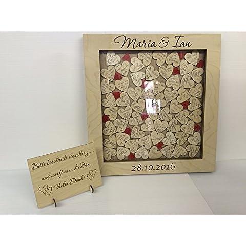 Personalizzabile in compensato di betulla, colore: rosso Scatola Matrimonio Libro degli ospiti 104Cuori, regalo per anniversario di matrimonio rustico 47x 50cm Keepsake compleanno