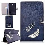 CareyNoce Galaxy Tab 4 8.0 Funda,Diente de león,Mar,Mariposa,Flor,Pattern PU Cuero Cover Stand Flip Funda Carcasas para Samsung Galaxy Tab 4 (8.0 pulgada) SM-T330 - Enojado Risa