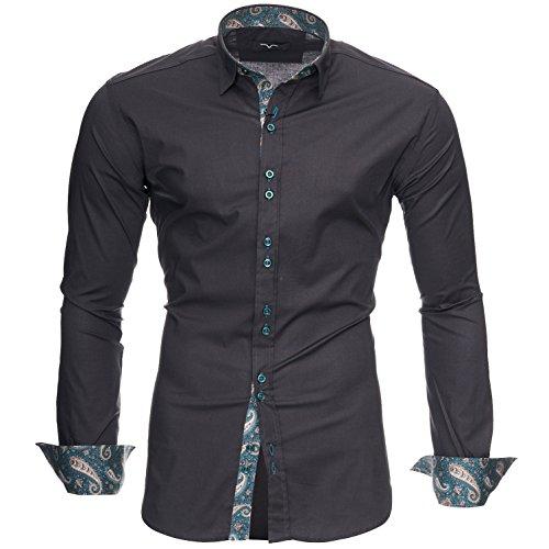 Kayhan uomo camicia, royal paisley grey (s)