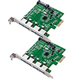 PCI-E to USB 3.0,COOSO Superspeed 4 Ports PCI-E to USB 3.0 Expansion Card,Interface USB 3.0 4-Port Express Card Desktop with 15 Pin Power Connector Green 2packs
