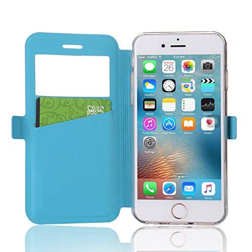 Handy-Schutzhülle mit Standfunktion aus Leder für Apple iPhone, Silikon, schwarz, iPhone 5/iPhone 5s blau