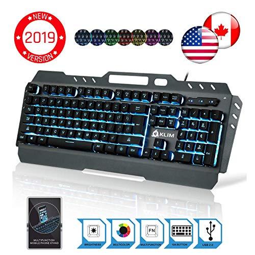 ⭐️KLIMTM Lightning - Hybrid halbmechanische Tastatur QWERTZ USA + sieben verschiedene Farben + 5-Jahre Garantie - Gamer Gaming-Tastatur für Videospiele PC PS4 Windows Mac Usa-hybrid