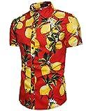Pinkpum Chemise Homme Hawaïenne Funky Casual Manche Courte Imprimé Lemon Rouge XL