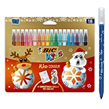 BIC Kids Kid Couleur Felt Tip Colouring Pens Medium Point, Christmas Edition - Assorted Colours, Pack of 18