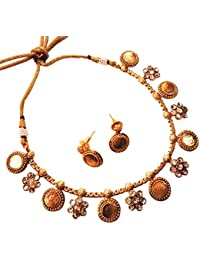 Satyam Jewellery Nx Gold Plated Traditional Temple Coin Necklace Set Imitation Jewellery For Women
