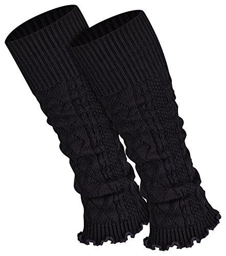 Piarini 1 Paar Bein Stulpen Damen | warme Beinstulpen Strick | schwarz