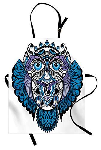 Abakuhaus paisley grembuıle da cucına, gufo tatuaggio animale uccello, tecnologia stampa digitale impermeabile resistente alle macchie, navy blue e viola