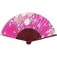 sourcingmap® Signore Donne Telaio Di Bambù Danza Estivo Portatile Ventaglio (Fucsia Bambù)