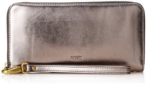 Fossil Damen Geldbörse– Emma RFID Clutch, Grau (Gray), 2.54x11.11x20 cm