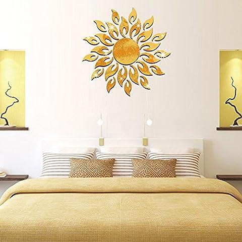 ufengke® 3D Sol Chispa Ronda Flor Efecto de Espejo Pegatinas de Pared Diseño de Moda Etiquetas del Arte Decoración del Hogar Oro
