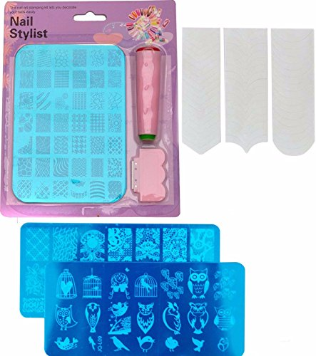 FOK Stamping Nail Art Kit Combo With 2pc Stamping Image Plate And A French Manicure Nail Art Tip Sticker