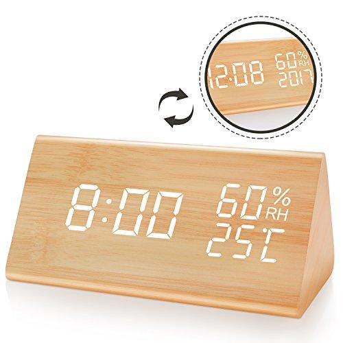 HAVIT LED Digitaler Wecker mit Datum/Woche/Temperatur/Feuchtigkeit, 12/24H und 3 Einstellbare Helligkeit, Modern Holz Tischuhr mit 3 Weckzeiten (Bambus)