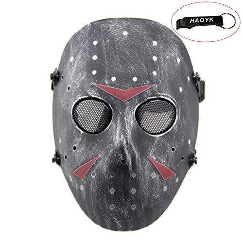 Voorhees Jason Der Freitag 13 Kostüm - haoYK Gesichtsmaske, Hockeymaske im Stile von Jason Vorheese, Schutzmaske als Kostüm für Halloween und Partys, silber, schwarz