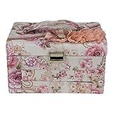 #9: AVMART Floral White Flower Cosmetic Organizer Makeup Storage Jewellery Travel Vanity Box Pink