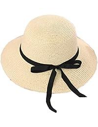 HONEY Estate Cappello Di Paglia Cappello Visiera Pieghevole Delle Donne  Cappello Da Sole Mare (Colore 5cac563a2e4f