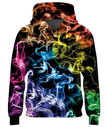 Loveternal Bunter Rauch Hoodies Kinder 3D Druck Kapuzenpullover Colorful Smoke Langarm Tops Leichte Sweatshirts Mit Taschen M