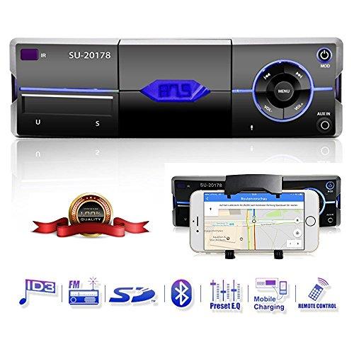 Auto-radio-6 Zoll (Bluetooth Autoradio mit Smartphone-Halter, Freisprecheinrichtung, eingebautes Mikrofon, USB Anschluss für MP3, iPhone, iPad, iPod, Android, AD2P, AUX Anschluss, SD & MMC Kartenleser, UKW/FM Radio, Handy-Halterung, KFZ Audio Receiver, PKW Radio)