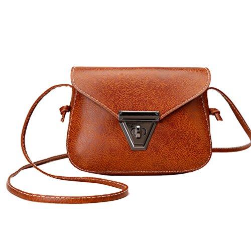 Leder Mini Handtasche (Tinksky Frauen Umhängetasche Mini Handtasche Geldbörse Pu-leder Schulter Diagonale Tasche Schultertasche Allgleiches Reise Tragetaschen Für Frauen Gilrs (Hellbraun))