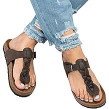 Gemijacka Damen Flip Flops Schuhe Sandalen Schnalle Peep-Toe Slip Sommer Strand Flache h1fpTVdek