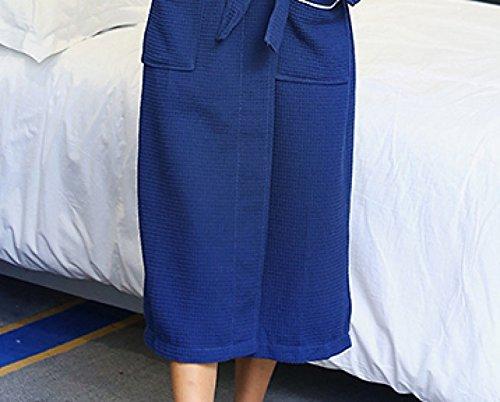 Donna Inverno Cotone Waffle Yukata Robe 100% Cotone Camicia Da Notte Sleep Spring Blue Casual Home Service fluorescentblue
