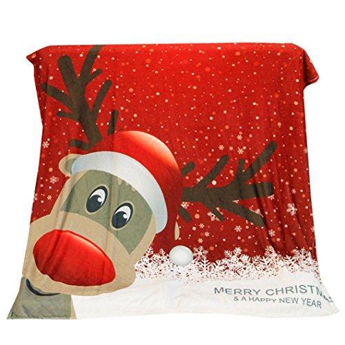 Rose Floral Cotton Fabric (Decke, Frashing Frohe Weihnachten Weihnachtsdecke Christmas Blanket Flannel Fabric Sofa Bed Blanket 130X150CM (C))