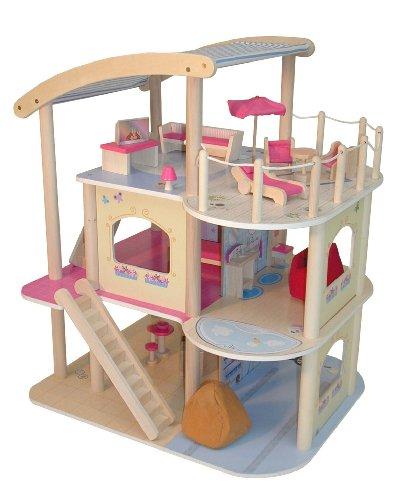 roba 9456 - Puppenhaus Villa, Massivholz natur und Medium Density Fibreboard kaschiert, inclusiv Inneneinrichtung, Gartenmöbel 19-teilig