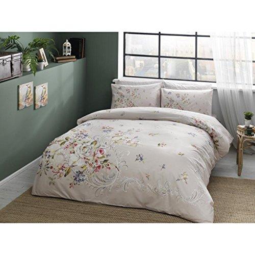 Tac Leila Lachs Farbe Full/Doppelbett/Queen 4Stück Bettwäsche Set, 100% Baumwolle Blumenmuster Bettdecke/Bettbezug-Set mit Bettbezug, Bettlaken und 2Kissenbezügen (Queen-blatt Set Mit Bettdecke)