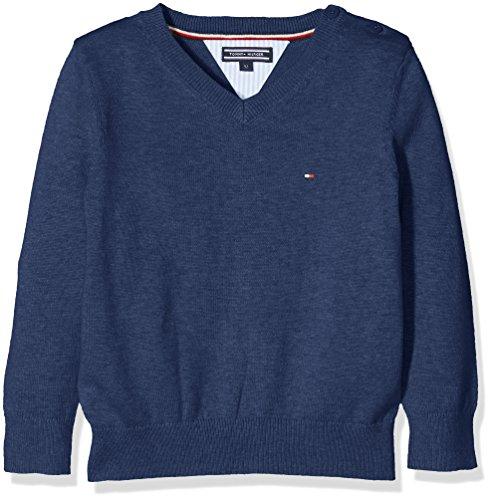 Tommy Hilfiger Jungen Pullover Ame VN Sweater L/S, Blau (Blue Depths Htr 057), 140 (Herstellergröße: 10)