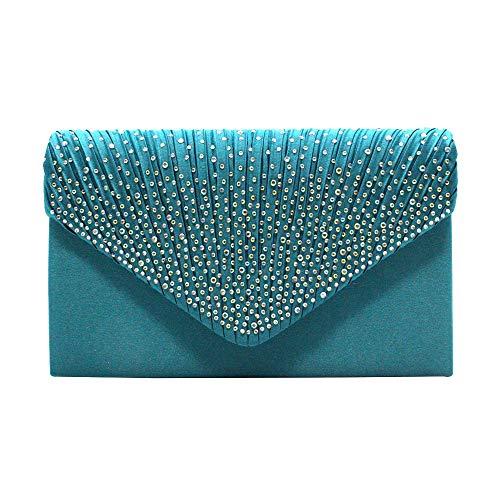 Diamant Umschlag Tasche AB Farbe europäischen und amerikanischen Stil jährliche Treffen Abendessen Tasche Handtasche Braut Tasche (Color : Blue-s) ()