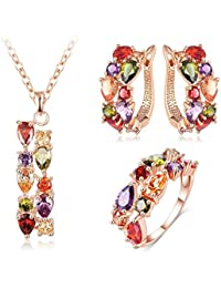 University Trendz 18K Rose Gold Plated Antique Multicolour Jewelry Set For Women Uts_240