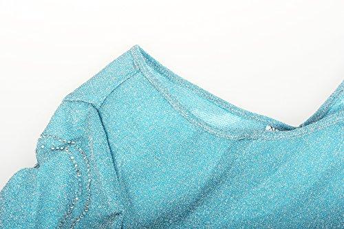 ReliBeauty Damen Elsa Prinzessin Kleid Bodenlang Rundausschnitt Pailletten Fasching Cosplay Kostüm Hellblau