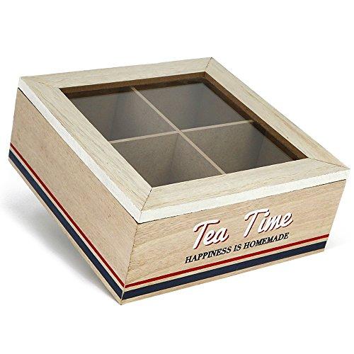 com-four® Hellbraune Aufbewahrungsbox für Tee und Teebeutel mit Deckel (01 Stück - 16.5x16.5x7cm Braun)