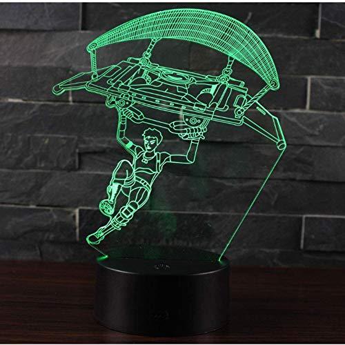 Sunfrow 3D Illusion Nachtlicht Führte Schreibtisch Tischlampe 7 Farbe Touch Lampe Home Schlafzimmer Büro Dekor Für Kinder Geburtstag Weihnachten Geschenk (Fallschirmspringen)