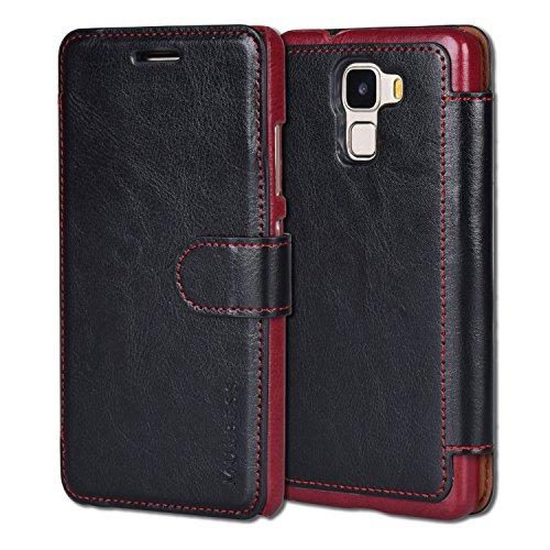 Mulbess Huawei Honor 7 Cover - Étui Housse en Cuir Ultra-mince Avec La Fonction Wallet pour Huawei Honor 7 Coque - Noir