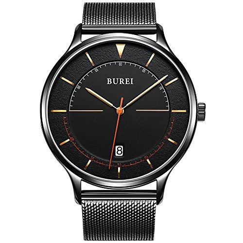 Burei Unisexe Cool minimaliste montres à quartz avec cadran noir calendrier Verre Minéral Bracelet en maille milanaise Noir (Noir)