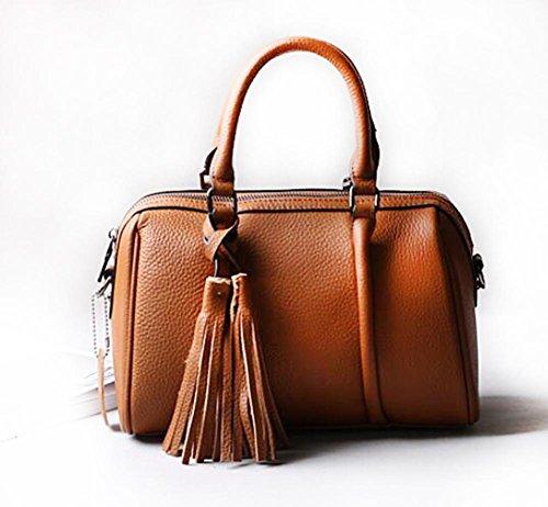 CHAOYANG-a tracolla in pelle borsa borsa borsa diagonale primo strato di borsa di pelle con frange , purple taro soil yellow