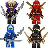 LEGO Ninjago 4er Figurenset Ultimate 15 - Cole, Kai, Jay, und Meister Chen mit 11 GALAXYARMS Waffen Schwerter