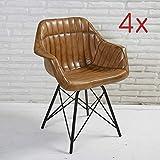 Wholesaler GmbH 4er Set Lederstuhl mit Streifenmuster und Armlehnen Esszimmerstuhl Schalenstuhl Senf