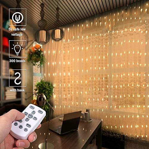 Cortina de Luces,Tomshine 3x3 Metros 300 LEDs Regulable Cortina de Luces Led con Control Remoto,8 Modos de Luz,IP65 Impermeable,Decoración de Navidad,Fiestas, Bodas,Jardín(Blanco Cálido)