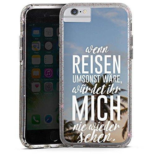 Apple iPhone X Bumper Hülle Bumper Case Glitzer Hülle Reise Palmen Urlaub Bumper Case Glitzer rose gold