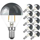10 x LED Filament Tropfen 2W = 25W E14 Kopfspiegel Silber Glühfaden warmweiß (2200K, 10 Stück)