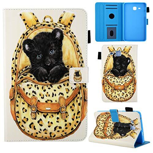 Samsung Galaxy Tab A 7.0 Hülle (SM-T280 T285), Ultra Slim Leder Tasche Schutzhülle mit Stifthalter und Standfunktion für Samsung Galaxy Tab A6 7,0 Zoll Tablet, Leopard ()