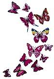 Alexy's Deko 3D Schmetterlinge Wanddeko Magnetisch Selbstklebend Wandaufklebend Wanddekoration Magnete Wandsticker Wandtattoo Wand-Deko Wand-Dekor Aufkleber Dekorationen Kunststoff 12 Stück (Set klein Rosa Intens)