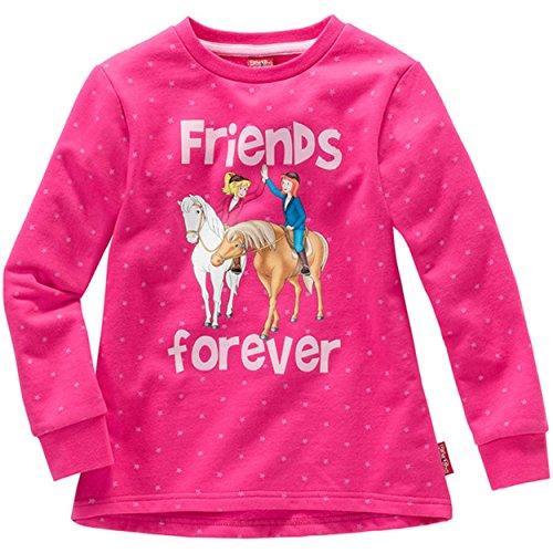 Kinder Mädchen SWEATSHIRT Bibi und Tina friends forever Pullover Sweater Pulli Pink 98 bis 152, Größe:98