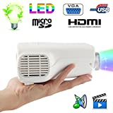 Mini vidéoprojecteur LED 16W 50 Lumens Home cinema HD 1080p Blanc