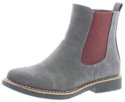 Rieker Damen Chelsea Boots 97880,Frauen Stiefel,Halbstiefel,Stiefelette,Bootie,Schlupfstiefel,flach,Blockabsatz 2.8cm,dunst, EU 37
