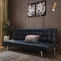 Style home Schlafsofa Couch Bett Kunstleder Holzgestell Edelstahlfüße Schwarz HSP01-SCH Sofa, Schaumstoff, 180 x 108 x 37 cm