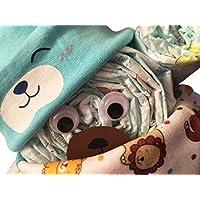 Windelgeschenk / Windeltorte / Windelbär mit Beanie + Dreieckstuch Junge Baby (Pampers Gr. 3) -> Niedliche Baby Kleinkind Kinder Cartoon drucken Hut Kappe Mütze + Schal Warp Set für 0-2 Jahre -> Geschenk zur Geburt Junge (blau Gr. 3)
